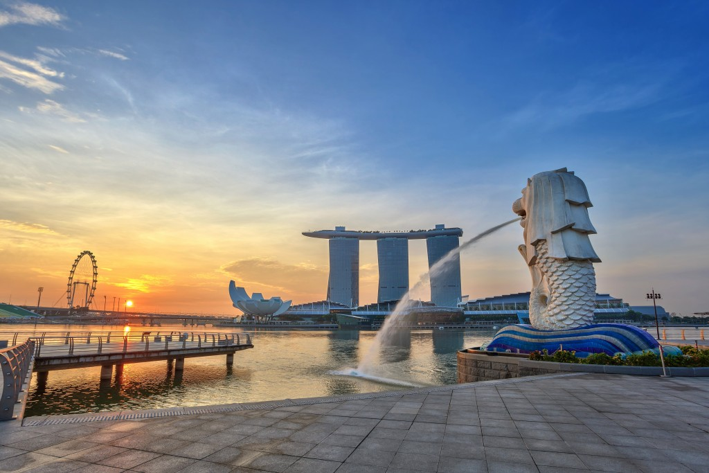 Sunset view by the Merlion park