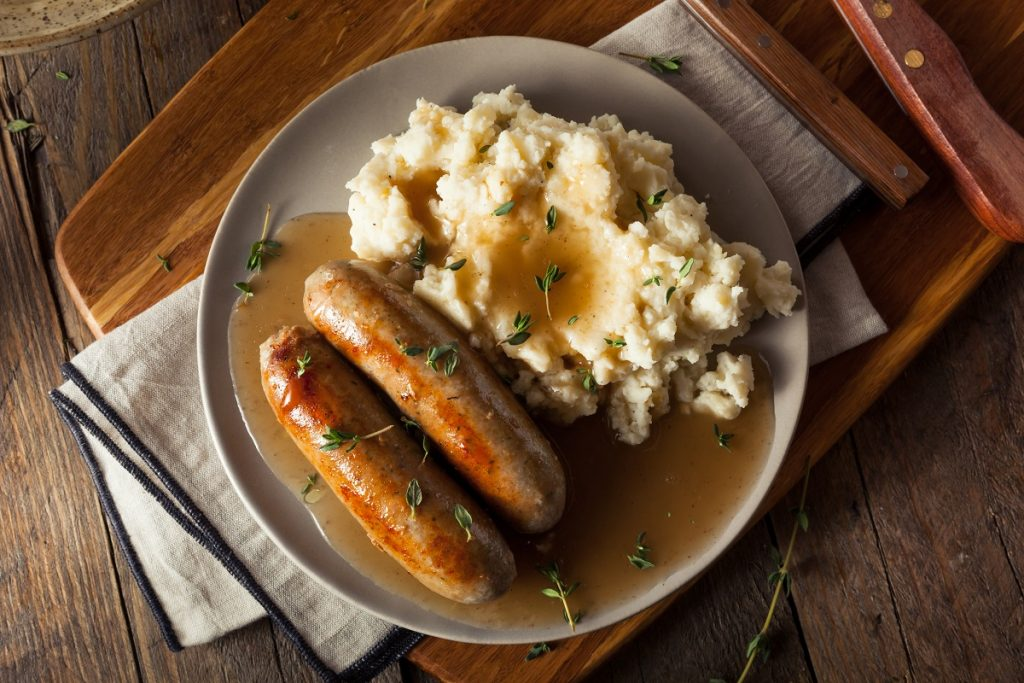 Sausage and mashed potato