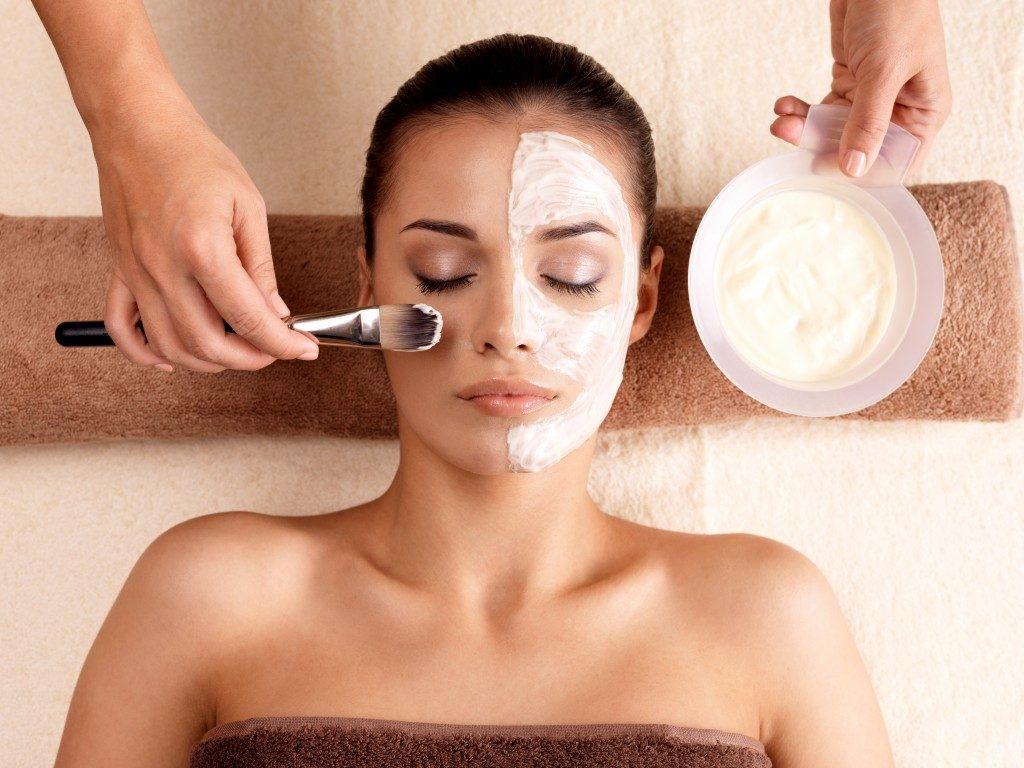 woman enjoying skin treatment