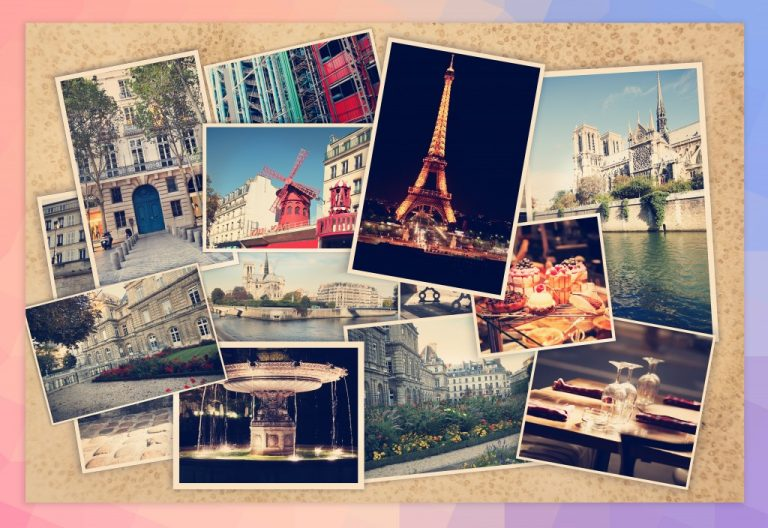 different photos of Paris on a wooden background