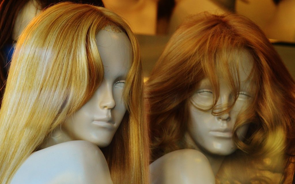 wigs on mannequins
