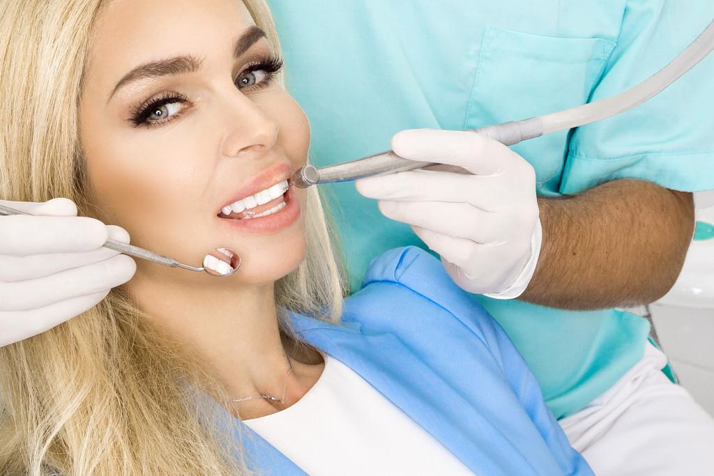 woman having a dental procedure