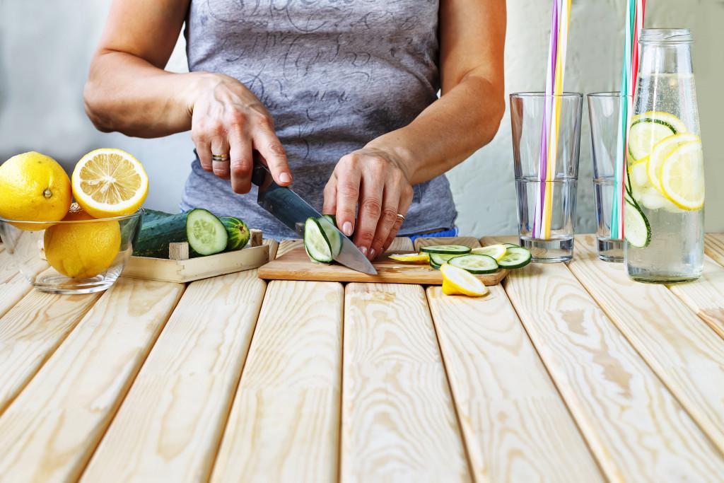 cutting lemons and cucumbers