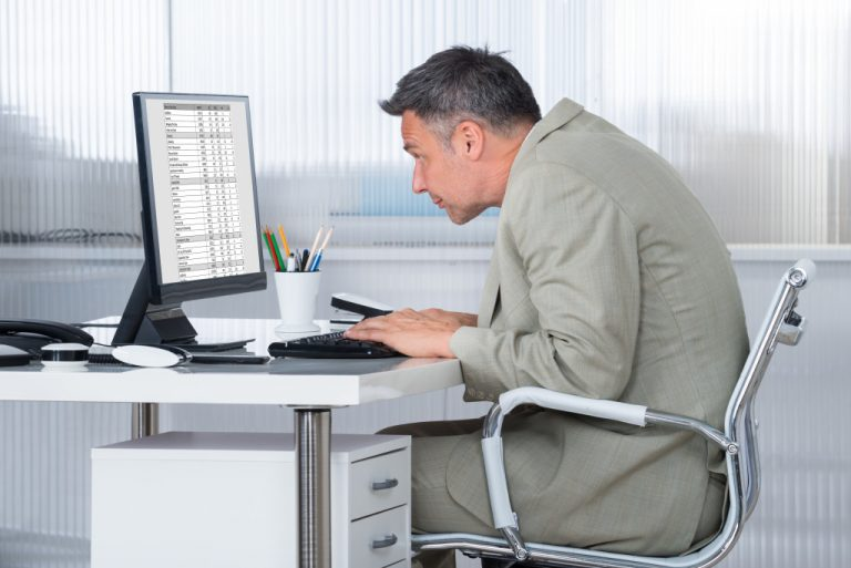 office worker with poor posture